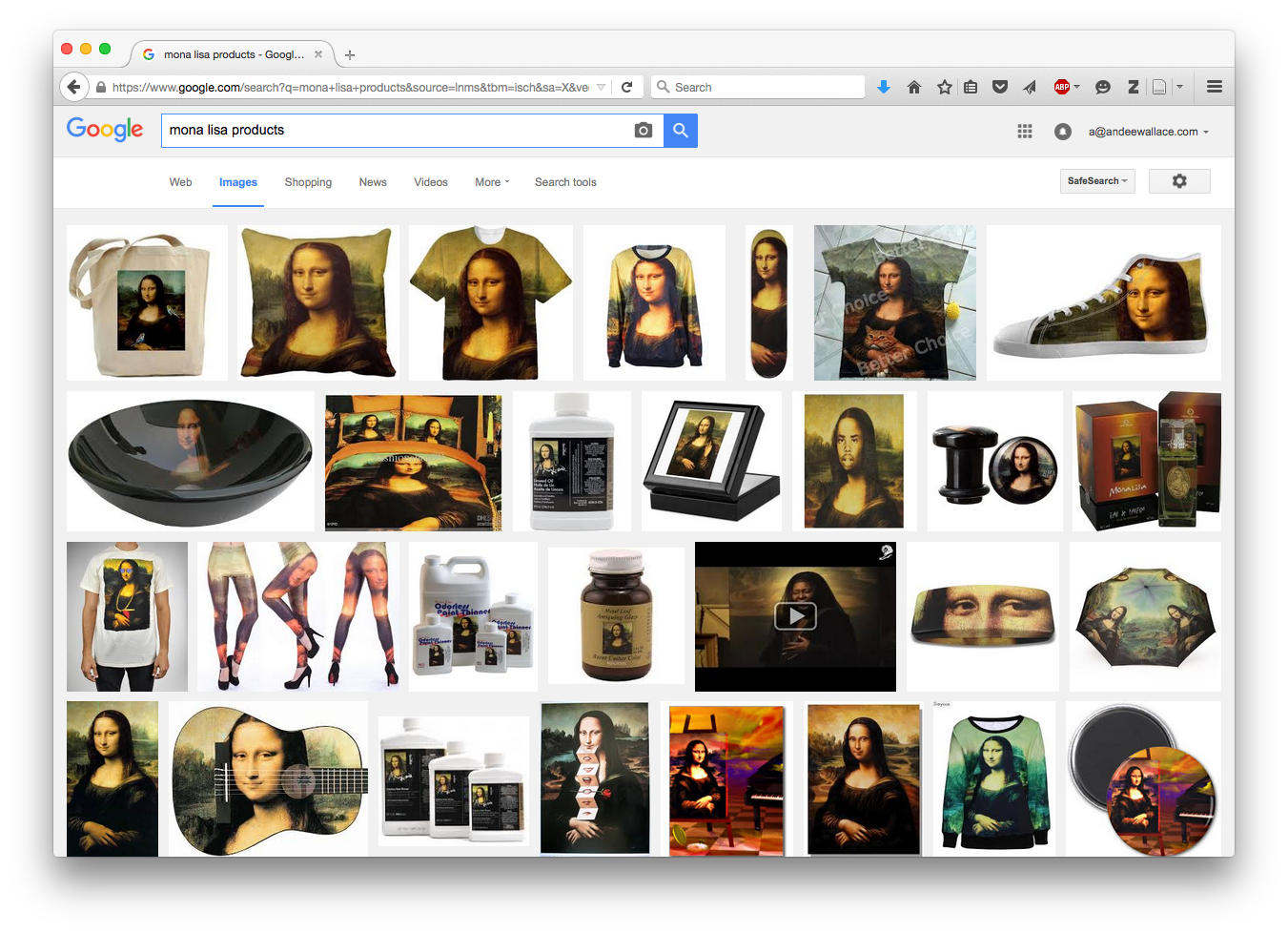 "Google image search for ""mona lisa products"": https://www.google.com/search?q=mona+lisa+products&source=lnms&tbm=isch&sa=X&ved=0CAcQ_AUoAWoVChMIxebZuLvWyAIVwscUCh14uQ-8&biw=1384&bih=835&dpr=0.9"