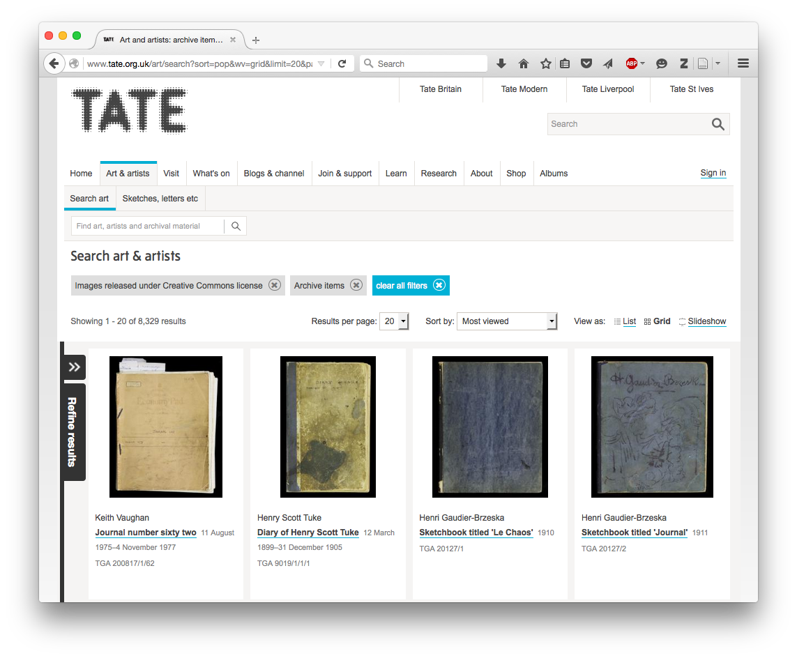 Tate, Creative Commons content