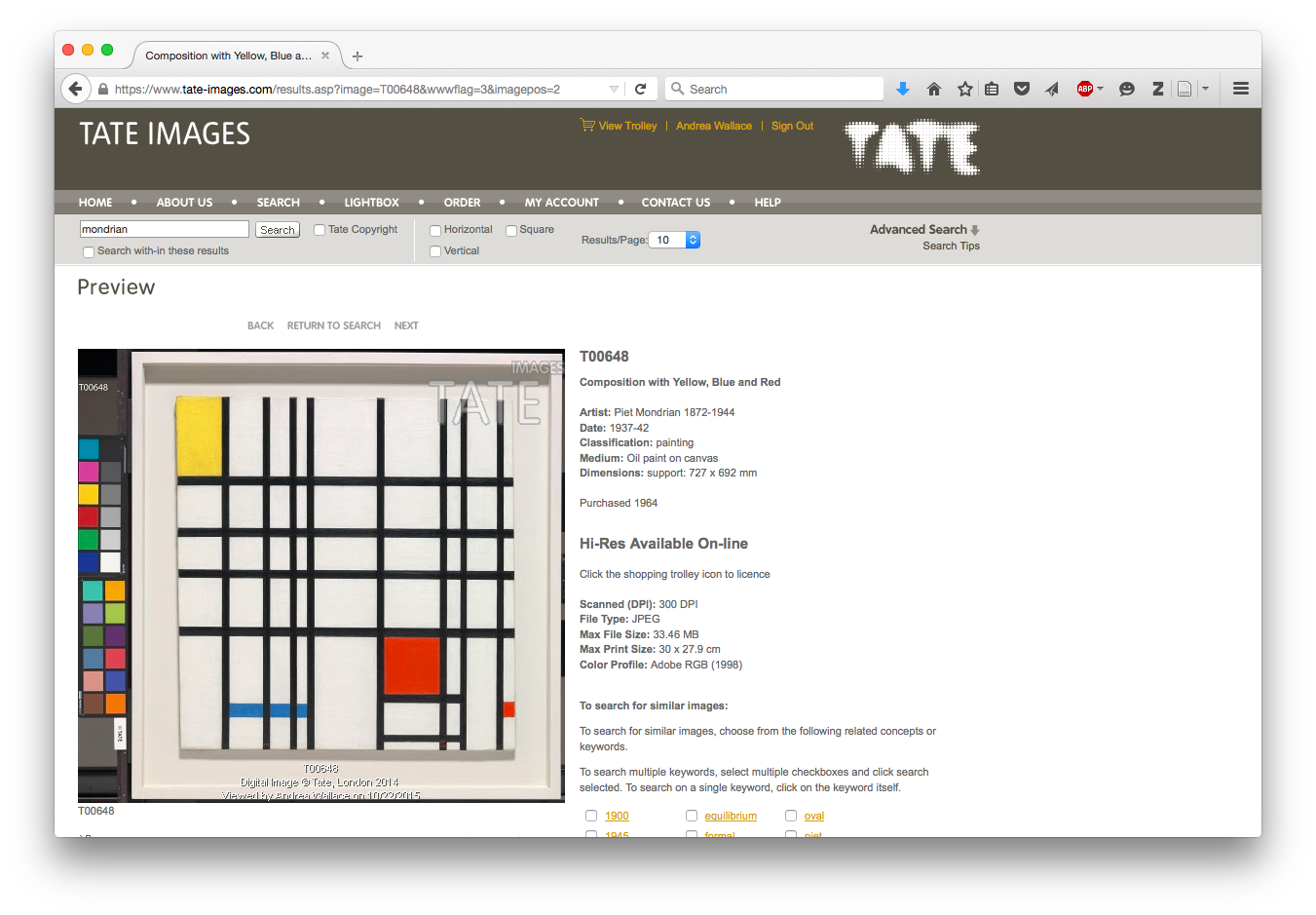 Tate Claim to Copyright over Image of Mondrian's Composition with Yellow, Blue and Red