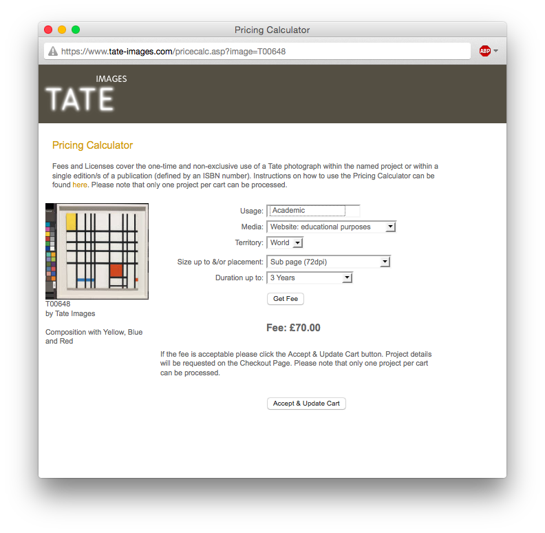 Tate Image Price for Mondrian's Composition in Yellow, Blue and Red