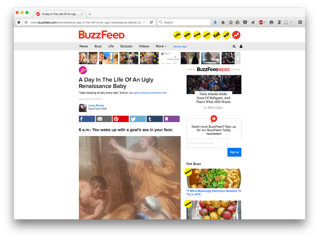 BuzzFeed, A Day In The Life Of An Ugly Renaissance Baby