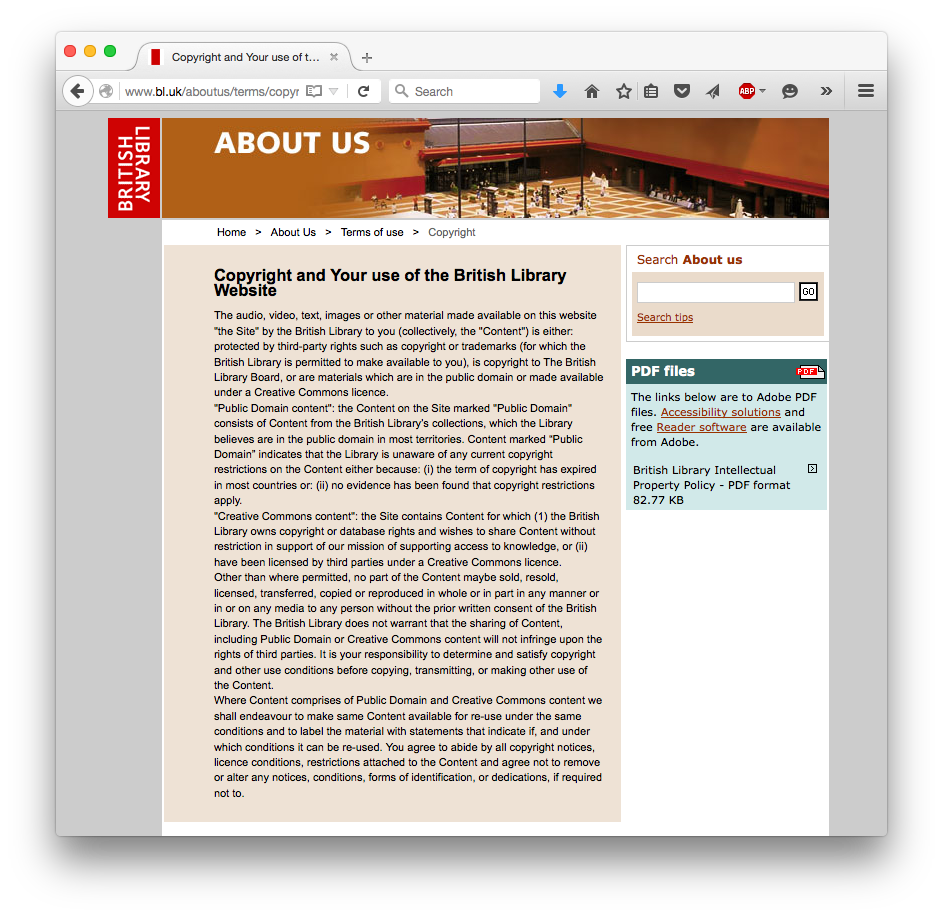 British Library, Copyright and Your use of the British Library Website